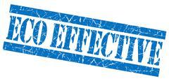 Eco effective blue grunge stamp Stock Illustration