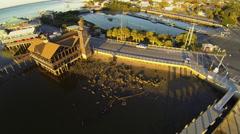 Cedar Key Aerial, Dock Street - stock footage