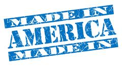 Made in america grunge blue stamp Stock Illustration