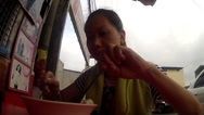 Stock Video Footage of Asian mami noodle soup eaten along sidewalk