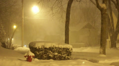 Snowy Neighborhood at Night 04 Stock Footage