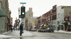 Oshkosh Downtown Street in the Winter 03 Stock Footage