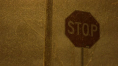 Stop SIgn in a Snowstorm at Night 01 Stock Footage