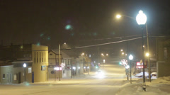 Snowy Night in a Midwestern City 03 Stock Footage