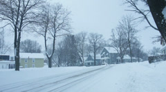 Snowy Neighborhood during the Day 01 Stock Footage