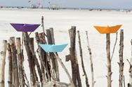 Stock Photo of Germany, Amrum, Colourful paper boats on branches