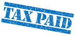 tax paid blue grunge stamp - stock illustration
