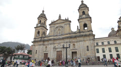 Primary Cathedral of Bogotá in Bolívar Square, Bogota, Colombia Stock Footage
