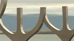 Reykjavik Iceland Landmark Sun Voyager Zoom Out Stock Footage
