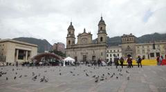 Bolívar Square in Bogota, Colombia Stock Footage