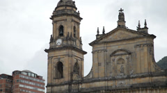 Top of the Primary Cathedral of Bogotá in Bolívar Square, Bogota, Colombia Stock Footage
