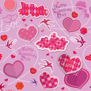 Valentines day seamless pattern with hearts, clouds and birds are made of che Stock Illustration