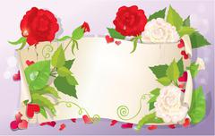 Illustration of love letter with hearts and flowers - rose, daisy, bluebell, Stock Illustration