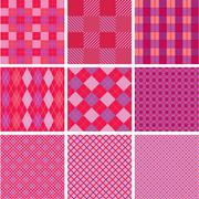 set of plaid seamless patterns in pink colors for girls - stock illustration