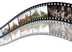 film strip with  pictures of  tourist attraction in  thailand - stock illustration
