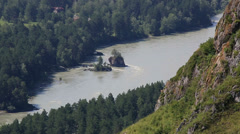 Katun river from mount bloody finger in altai krai. russia. Stock Footage
