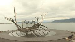Reykjavik Iceland Landmark Sun Voyager Pan Left Stock Footage