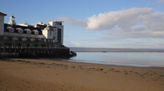 Marine Lake in Weston-super-Mare Somerset England on a sunny morning Stock Footage