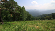 Stock Video Footage of panorama of altai mountains from peak mount tserkovka in belokurikha. russia.