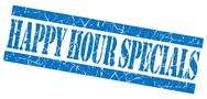 Stock Illustration of happy hour specials grunge blue stamp