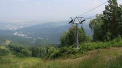 Ski chairlift on mount tserkovka in belokurikha. altai krai. russia. Stock Footage