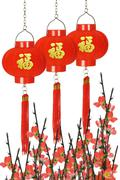 Stock Photo of chinese prosperity lanterns and plum blossom