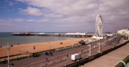 4K time lapse of Brighton seafront and pier Stock Footage