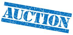 Auction grunge blue stamp Stock Illustration