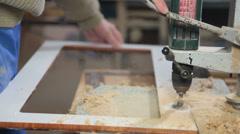 Carpenter manufacturing furniture Stock Footage