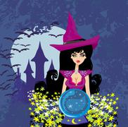 Beautiful witch with crystal ball. Stock Illustration