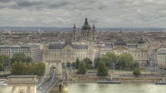 HDR time lapse of St Stephen's Basilica and the river Danube in Budapest - stock footage