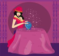 Fortune-teller with crystal ball Stock Illustration