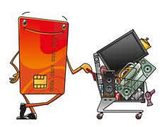 Stock Illustration of credit card with shopping cart of electronics