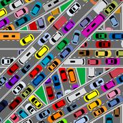 Traffic congestion on roads Stock Illustration