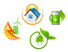 set of ecological icons - stock illustration