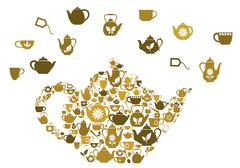 teapots and cups of tea - stock illustration
