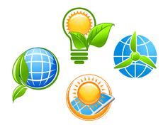 ecology and environment icons - stock illustration