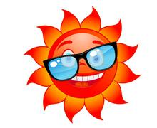 happy sun in sunglasses - stock illustration