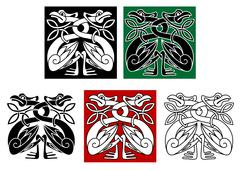 Wild birds in celtic ornament style Stock Illustration