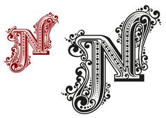 N letter in vintage calligraphic style Stock Illustration