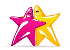 smiling glossy stars - stock illustration