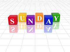 Sunday in 3d coloured cubes Stock Illustration
