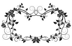 ornamental frame with rose flowers - stock illustration