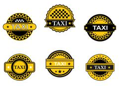 Taxi symbols and signs Stock Illustration