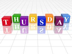 Thursday in 3d coloured cubes Stock Illustration