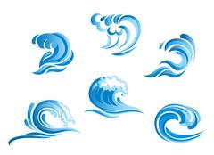 set of blue surf ocean waves - stock illustration