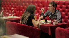 Romantic Dinner on a Date Stock Footage