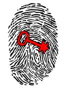Security concept with fingerprint and key Stock Illustration