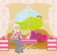 grandmother playing with granddaughter - stock illustration