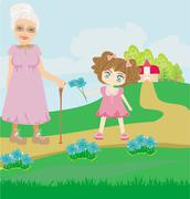 little girl gives flowers to grandmother - stock illustration